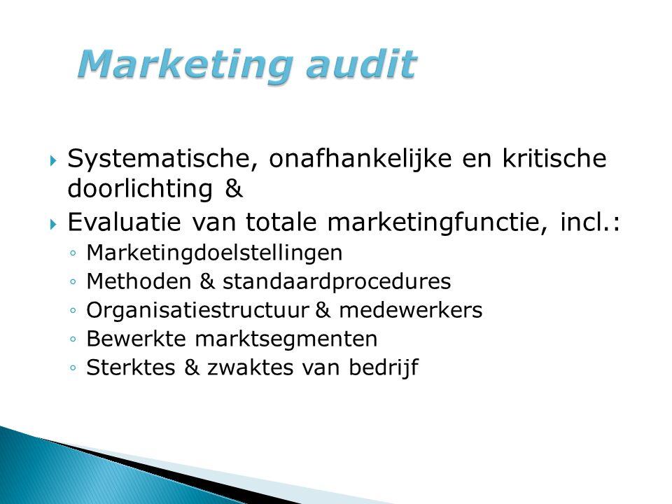 Marketing audit Systematische, onafhankelijke en kritische doorlichting & Evaluatie van totale marketingfunctie, incl.: