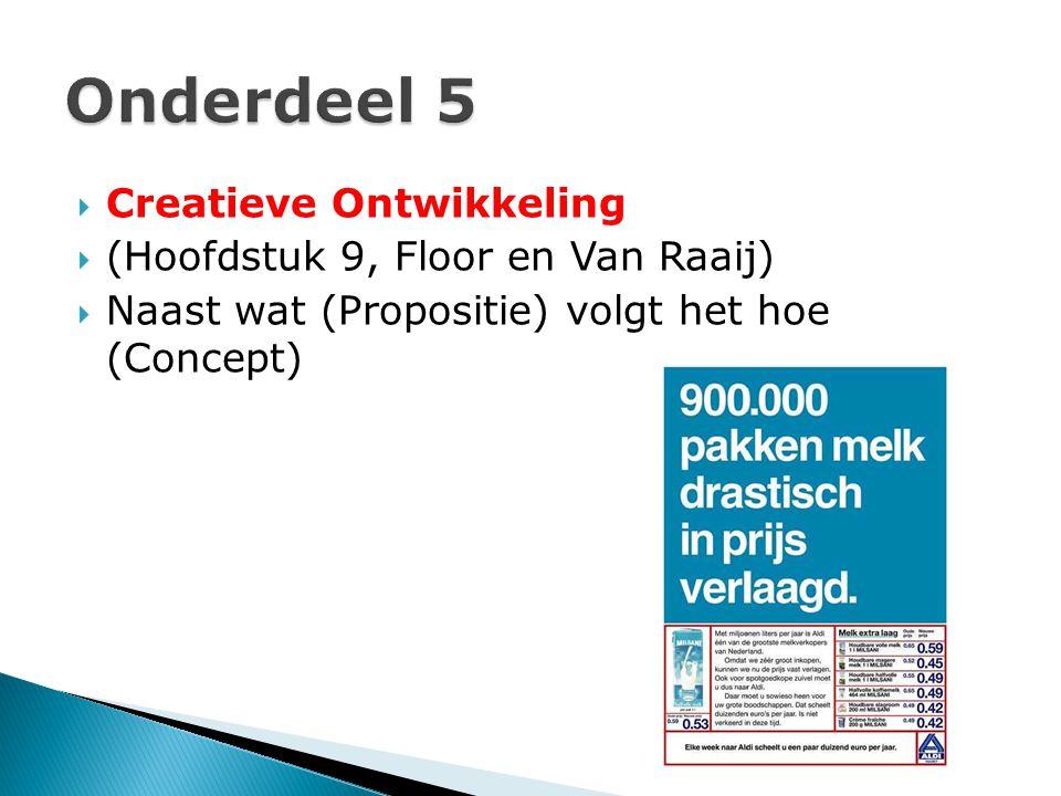 Onderdeel 5 Creatieve Ontwikkeling (Hoofdstuk 9, Floor en Van Raaij)