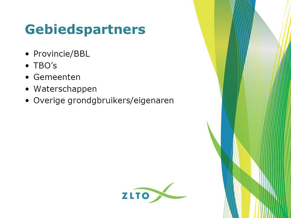 Gebiedspartners Provincie/BBL TBO's Gemeenten Waterschappen