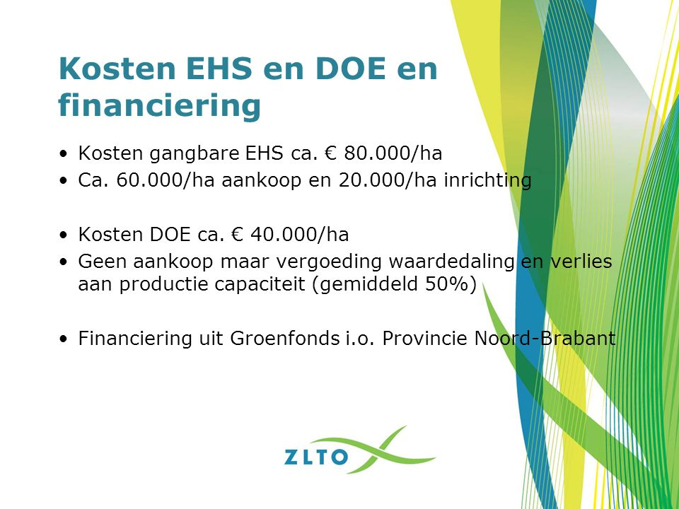 Kosten EHS en DOE en financiering
