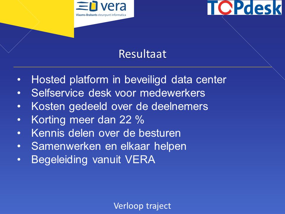 Resultaat Hosted platform in beveiligd data center