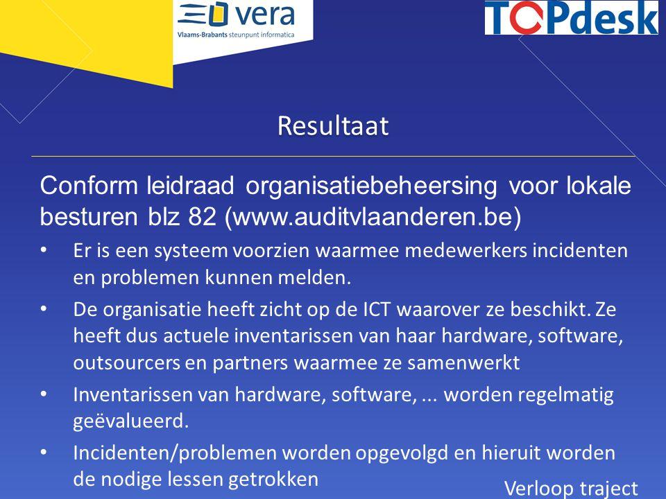 Resultaat Conform leidraad organisatiebeheersing voor lokale besturen blz 82 (www.auditvlaanderen.be)