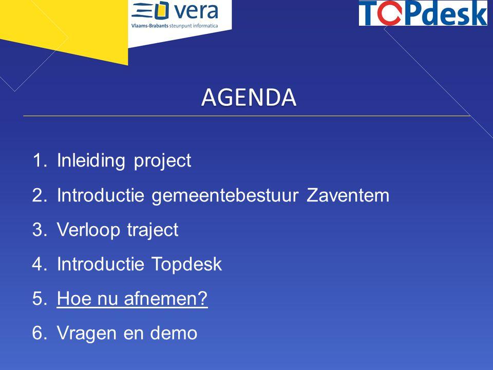 AGENDA Inleiding project Introductie gemeentebestuur Zaventem