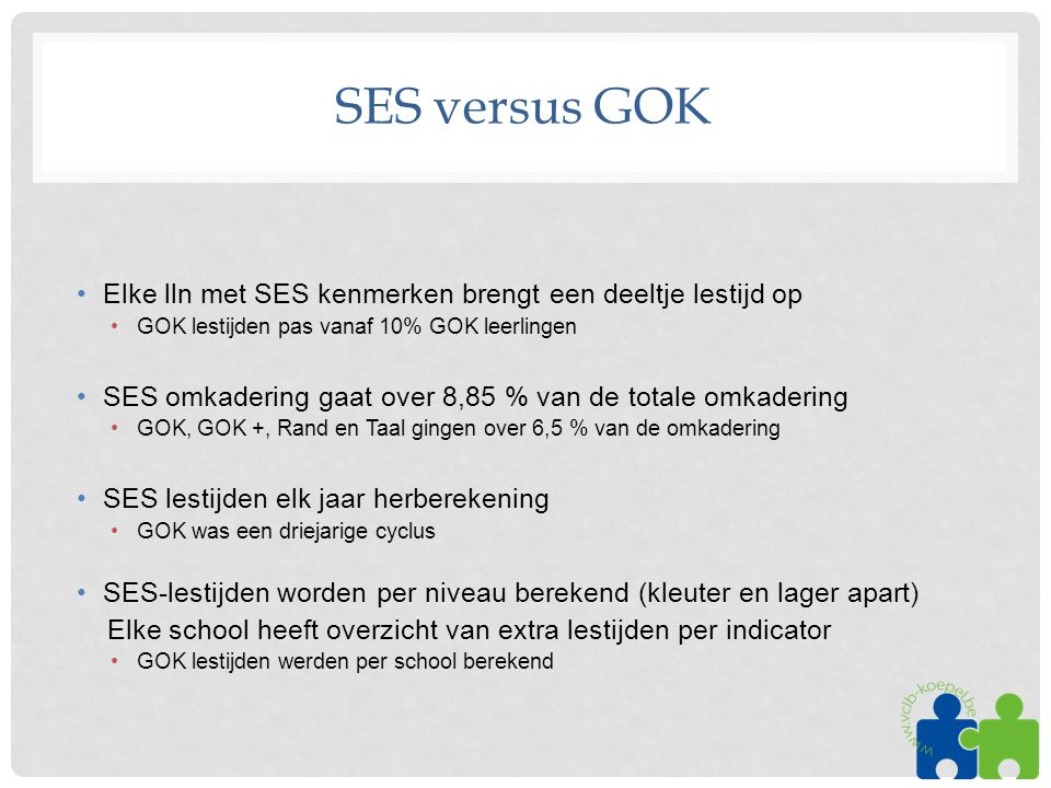 SES versus GOK Elke lln met SES kenmerken brengt een deeltje lestijd op. GOK lestijden pas vanaf 10% GOK leerlingen.