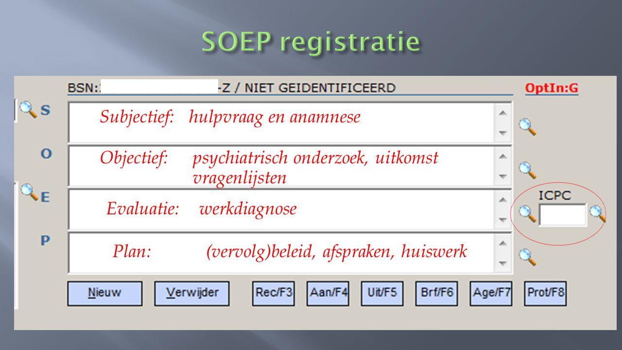 SOEP registratie Subjectief: hulpvraag en anamnese
