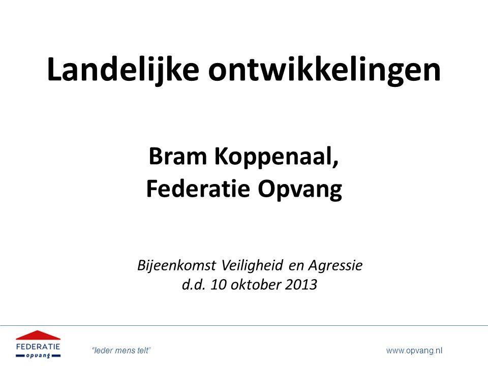 Landelijke ontwikkelingen Bram Koppenaal, Federatie Opvang