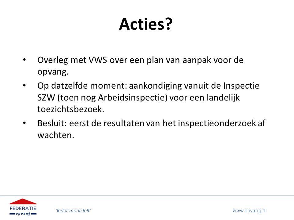 Acties Overleg met VWS over een plan van aanpak voor de opvang.