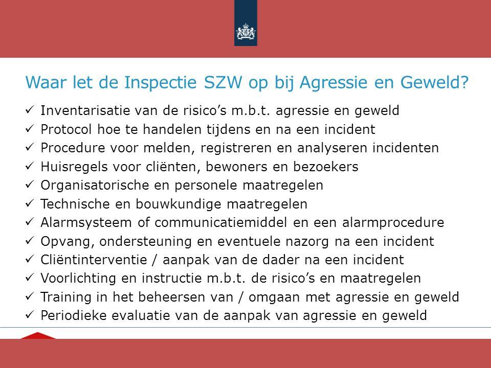 Waar let de Inspectie SZW op bij Agressie en Geweld