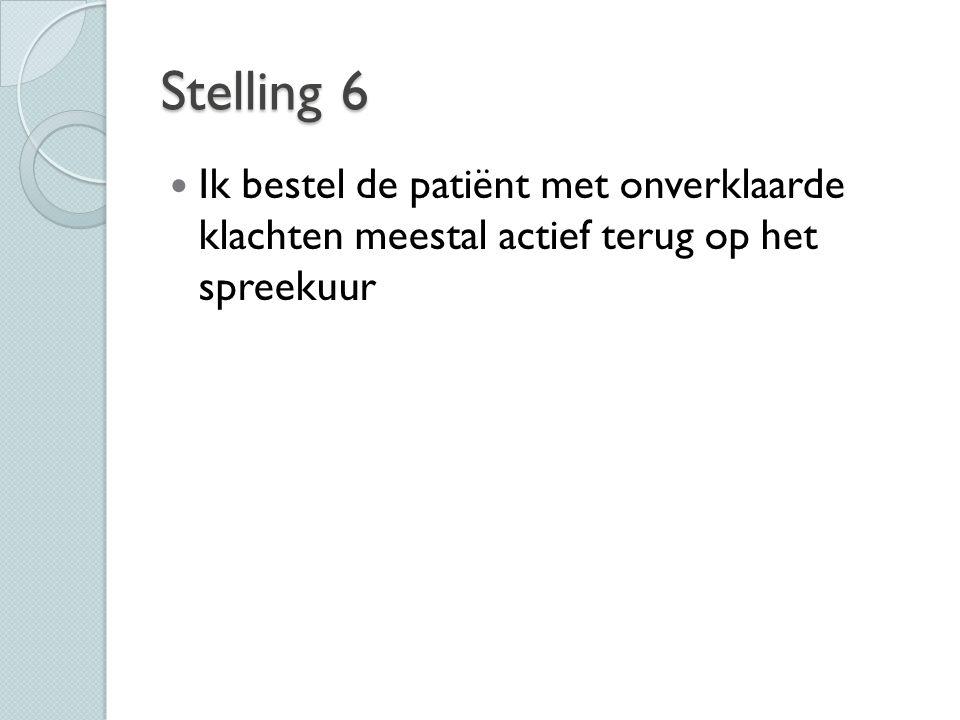 Stelling 6 Ik bestel de patiënt met onverklaarde klachten meestal actief terug op het spreekuur. De meeste collega's doen dit niet.