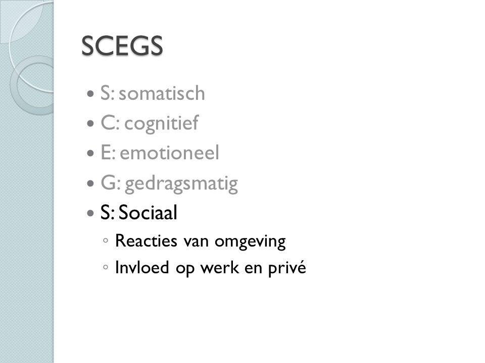 SCEGS S: somatisch C: cognitief E: emotioneel G: gedragsmatig