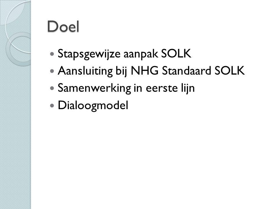 Doel Stapsgewijze aanpak SOLK Aansluiting bij NHG Standaard SOLK