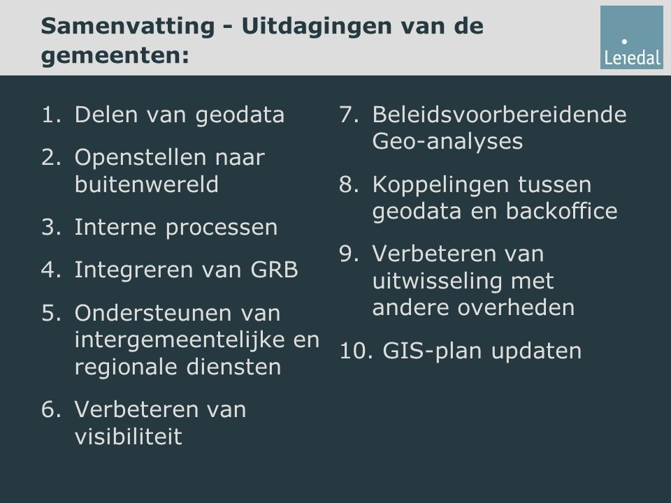 Samenvatting - Uitdagingen van de gemeenten: