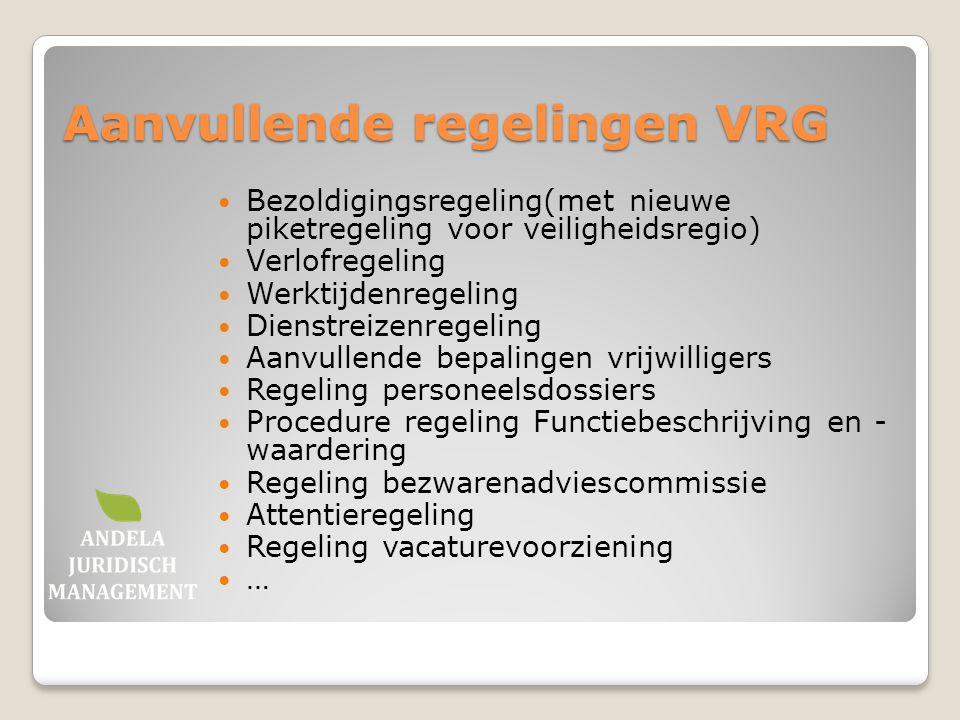 Aanvullende regelingen VRG