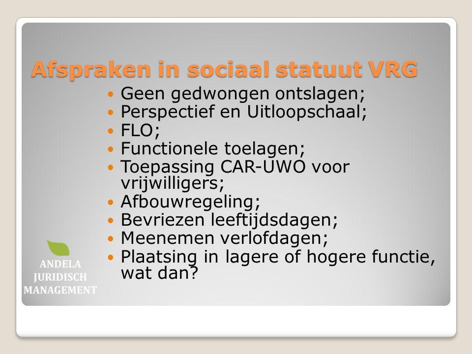 Afspraken in sociaal statuut VRG