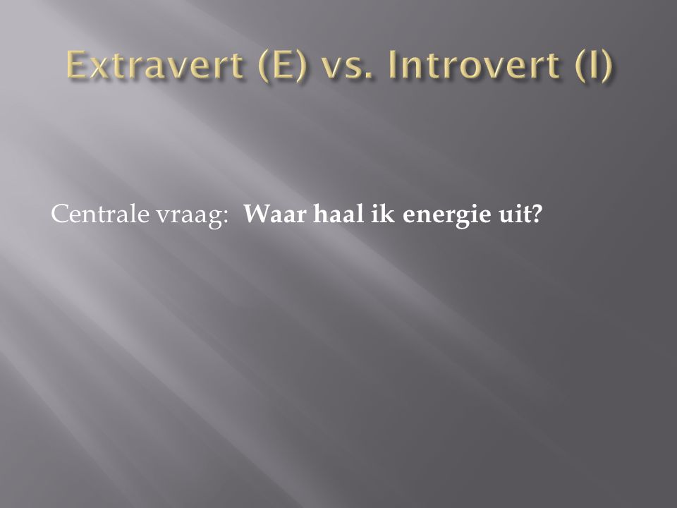 Extravert (E) vs. Introvert (I)