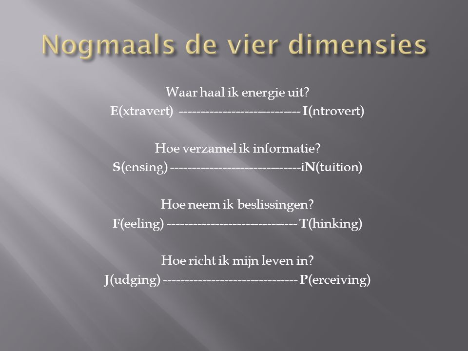 Nogmaals de vier dimensies