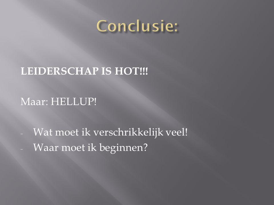 Conclusie: LEIDERSCHAP IS HOT!!! Maar: HELLUP!