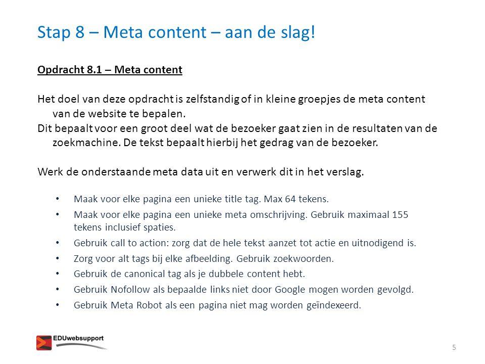 Stap 8 – Meta content – aan de slag!