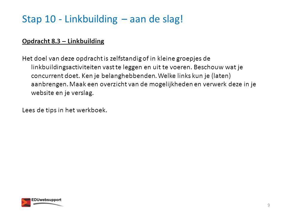 Stap 10 - Linkbuilding – aan de slag!