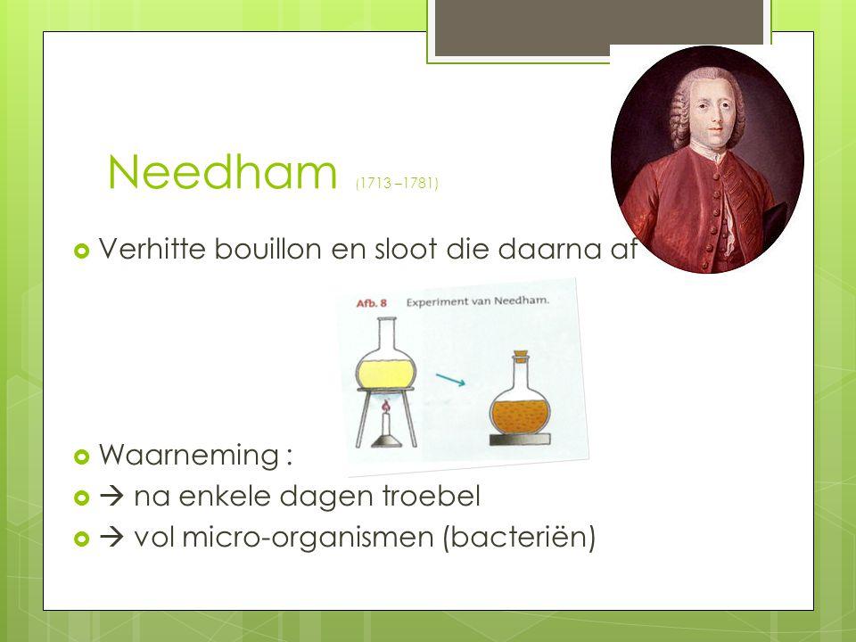 Needham (1713 –1781) Verhitte bouillon en sloot die daarna af