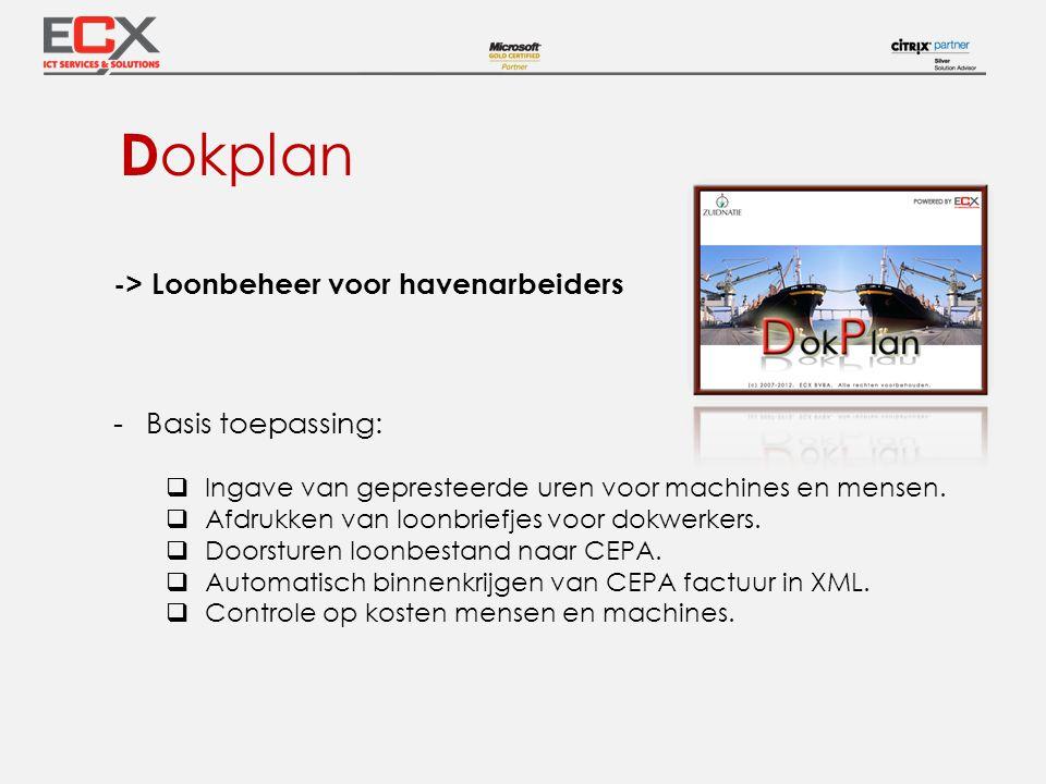 Dokplan -> Loonbeheer voor havenarbeiders Basis toepassing: