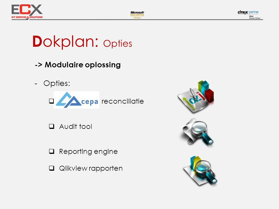 Dokplan: Opties -> Modulaire oplossing Opties: reconciliatie