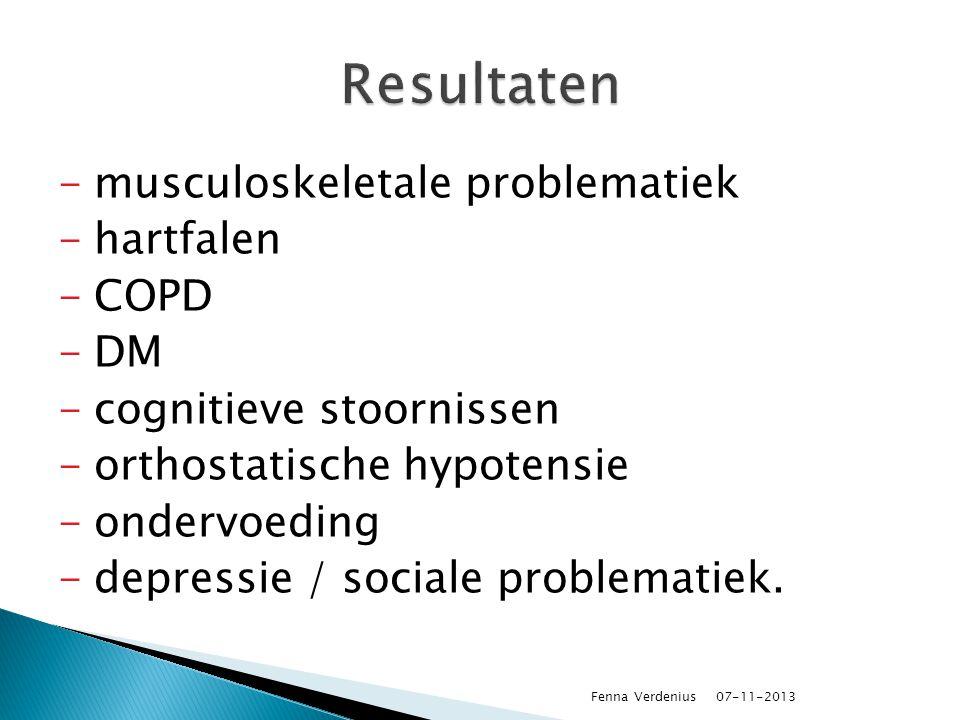 Resultaten musculoskeletale problematiek hartfalen COPD DM