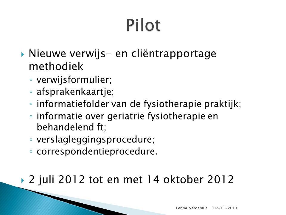 Pilot Nieuwe verwijs- en cliëntrapportage methodiek
