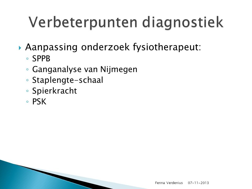 Verbeterpunten diagnostiek
