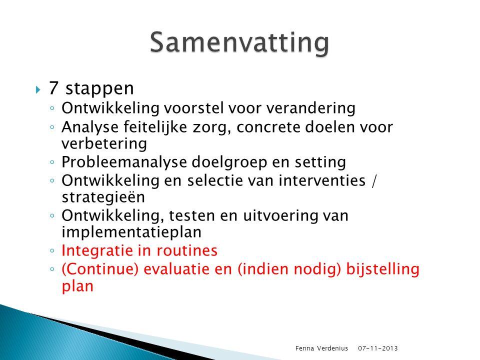 Samenvatting 7 stappen Ontwikkeling voorstel voor verandering
