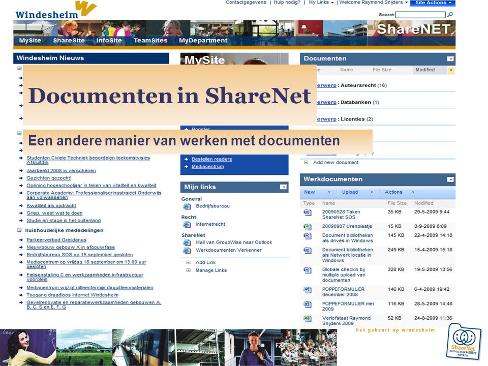 Documenten in ShareNet