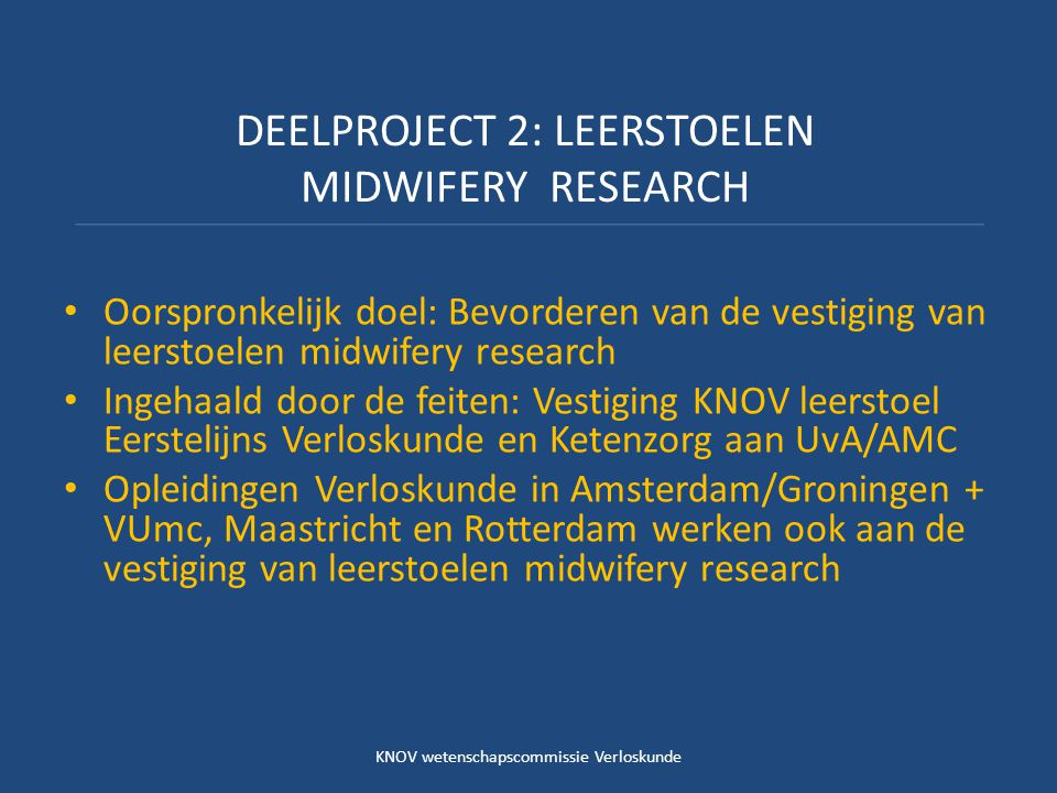 DEELPROJECT 2: LEERSTOELEN MIDWIFERY RESEARCH