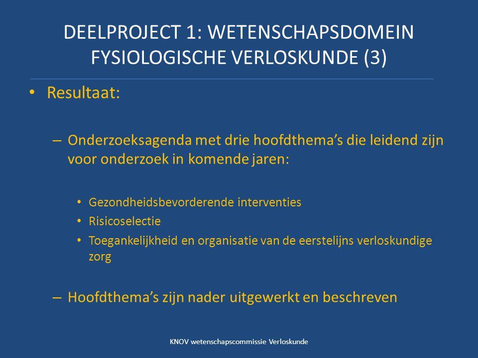 DEELPROJECT 1: WETENSCHAPSDOMEIN FYSIOLOGISCHE VERLOSKUNDE (3)