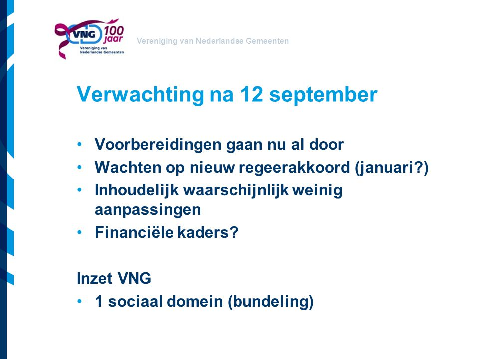 Verwachting na 12 september