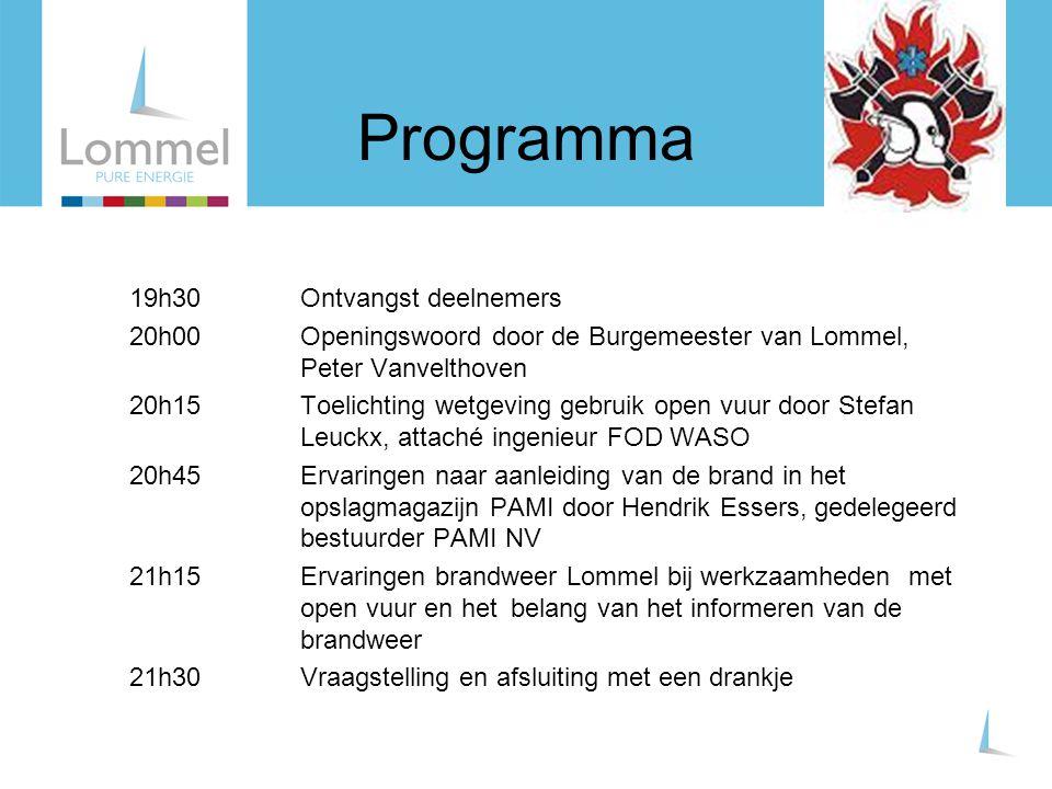 Programma 19h30 Ontvangst deelnemers