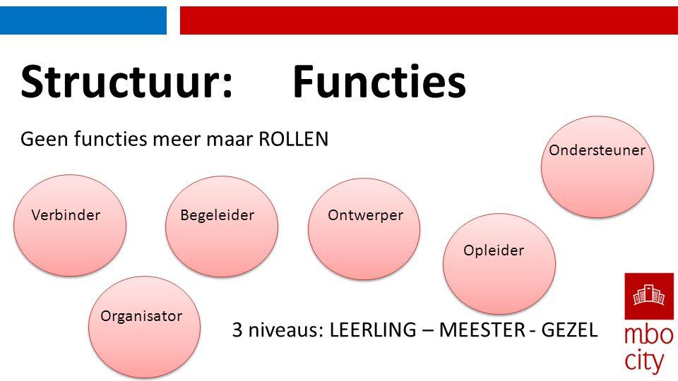Structuur: Functies Geen functies meer maar ROLLEN