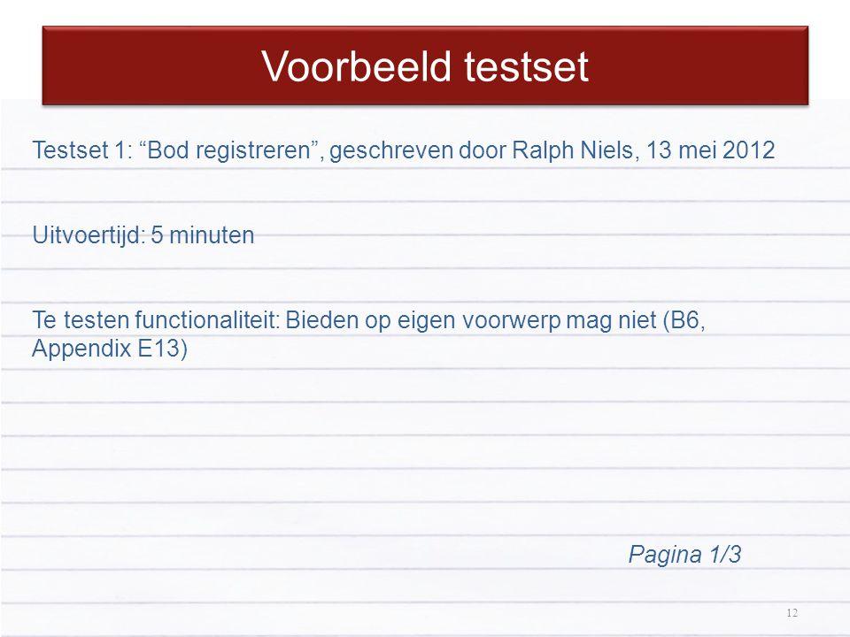 Voorbeeld testset Testset 1: Bod registreren , geschreven door Ralph Niels, 13 mei 2012. Uitvoertijd: 5 minuten.