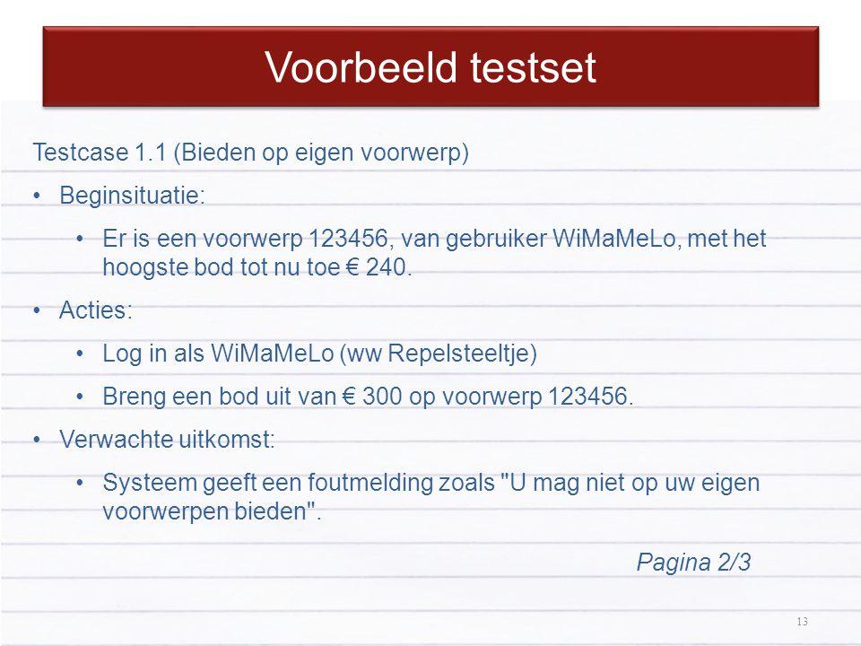 Voorbeeld testset Testcase 1.1 (Bieden op eigen voorwerp)