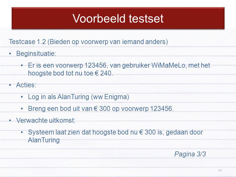 Voorbeeld testset Testcase 1.2 (Bieden op voorwerp van iemand anders)