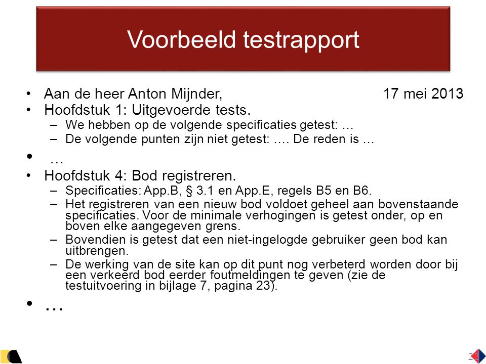 Voorbeeld testrapport