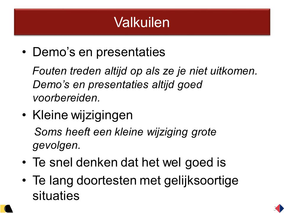 Valkuilen Demo's en presentaties