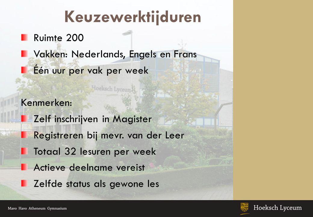 Keuzewerktijduren Ruimte 200 Vakken: Nederlands, Engels en Frans