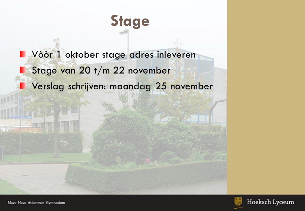 Stage Vòòr 1 oktober stage adres inleveren