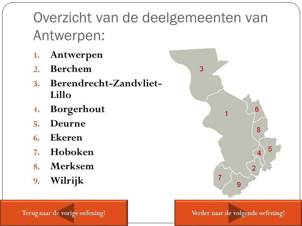 Overzicht van de deelgemeenten van Antwerpen: