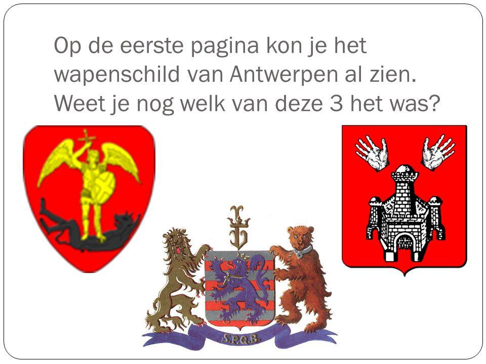 Op de eerste pagina kon je het wapenschild van Antwerpen al zien