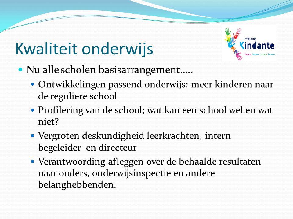 Kwaliteit onderwijs Nu alle scholen basisarrangement…..