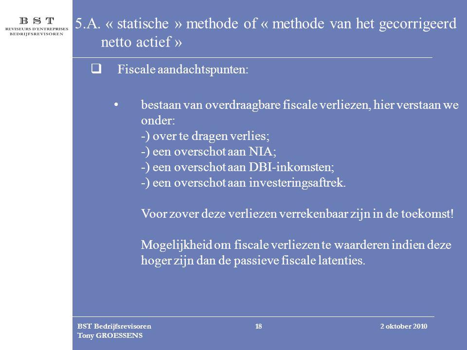 5.A. « statische » methode of « methode van het gecorrigeerd netto actief »