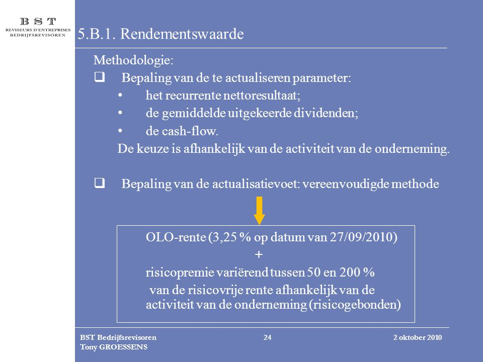 5.B.1. Rendementswaarde Methodologie: