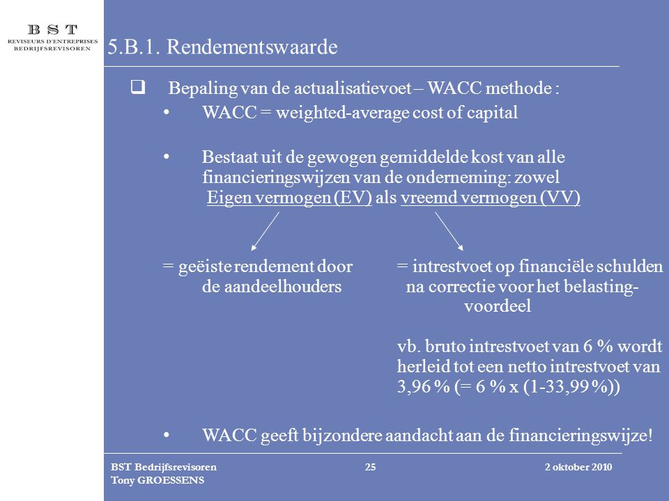 5.B.1. Rendementswaarde Bepaling van de actualisatievoet – WACC methode : WACC = weighted-average cost of capital.
