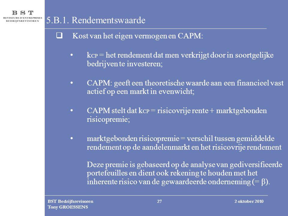 5.B.1. Rendementswaarde Kost van het eigen vermogen en CAPM: